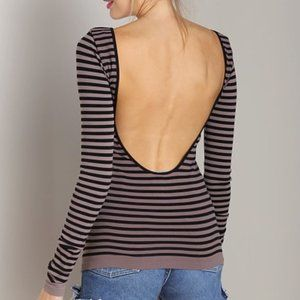 Free People Grey Striped Low-Back Bodycon Top